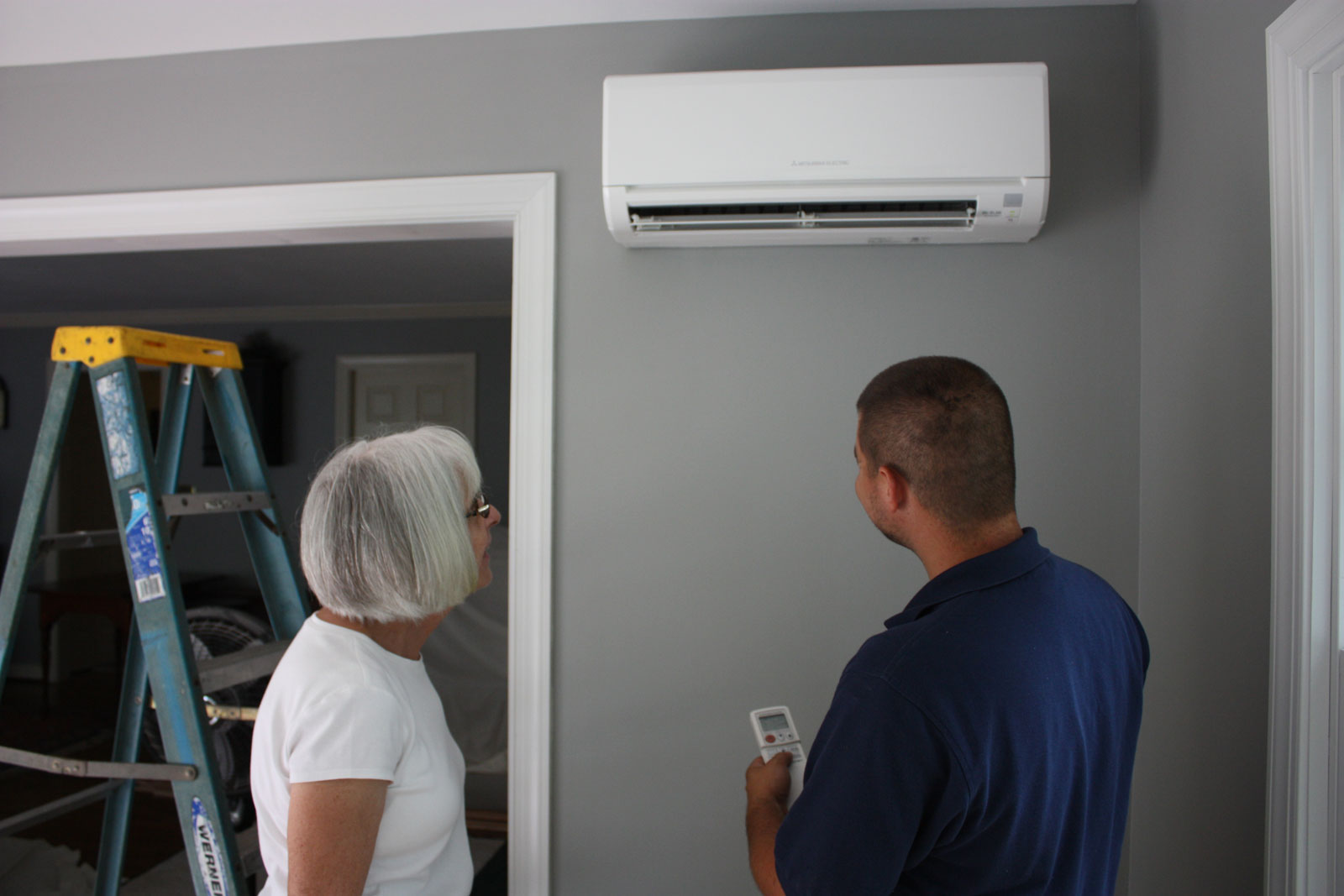 Ductless mini split system being installed by Williamsburg HVAC