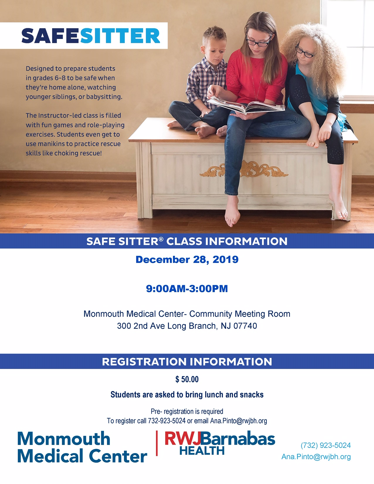 babysitting class, monmouth medical center, new jersey babysitters