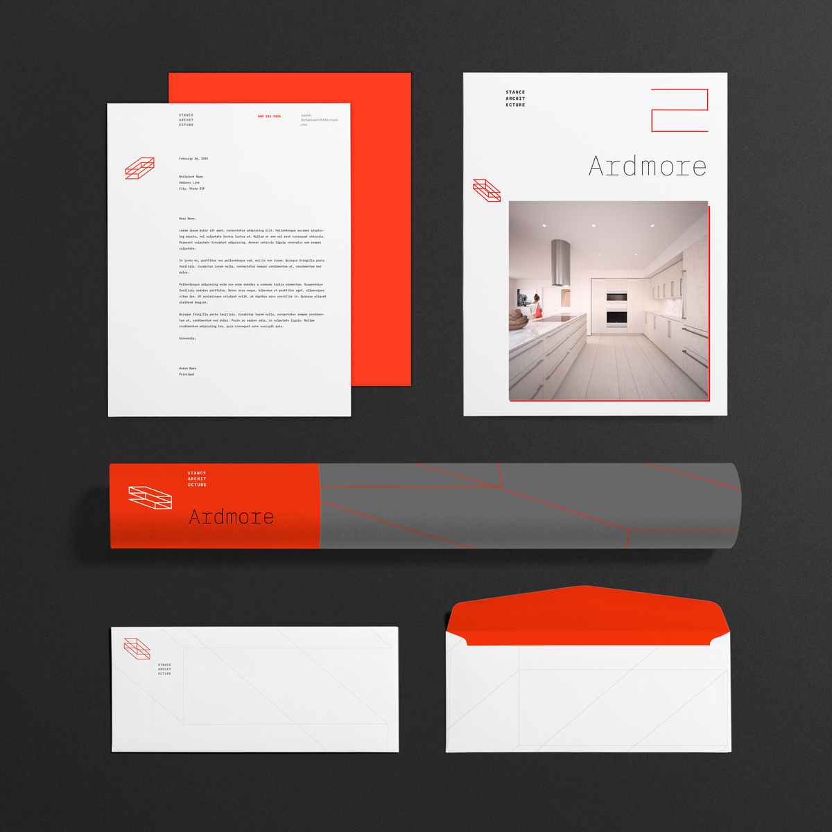 Collateral package for architecture firm branding program