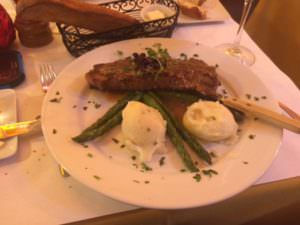 New York steak special with green peppercorn sauce