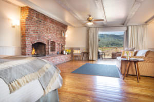 Rooms feature wood-burning fireplaces