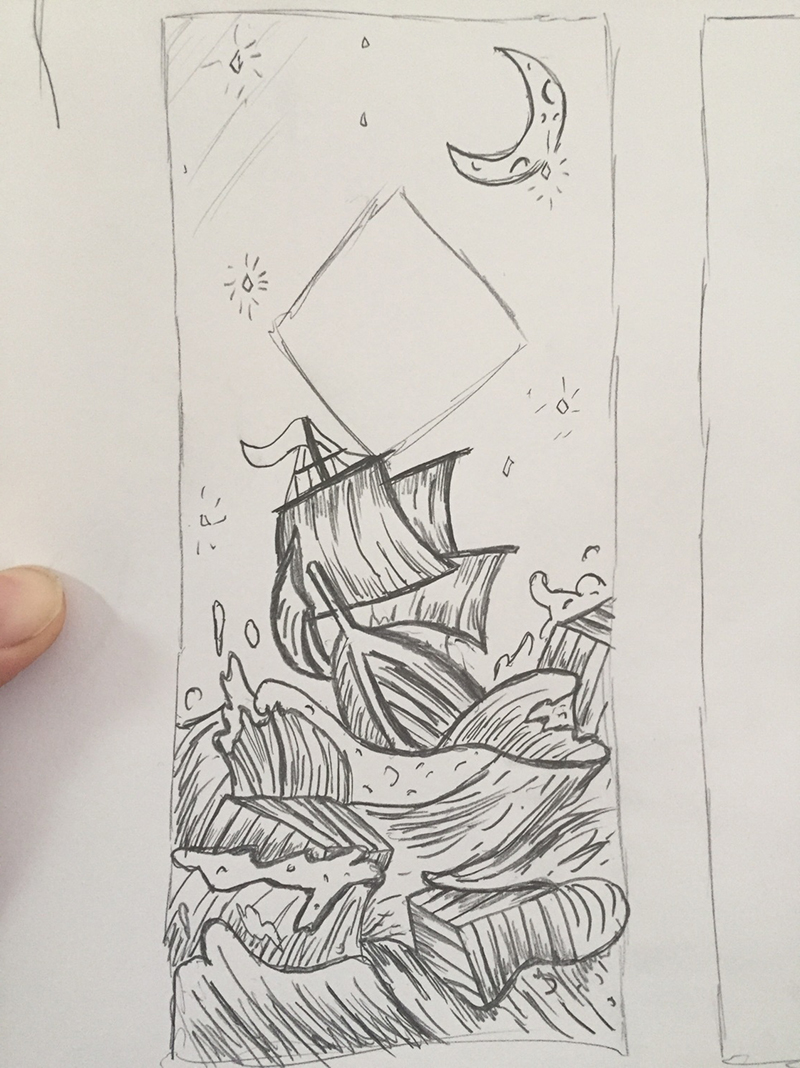 concpet sketch of a ship