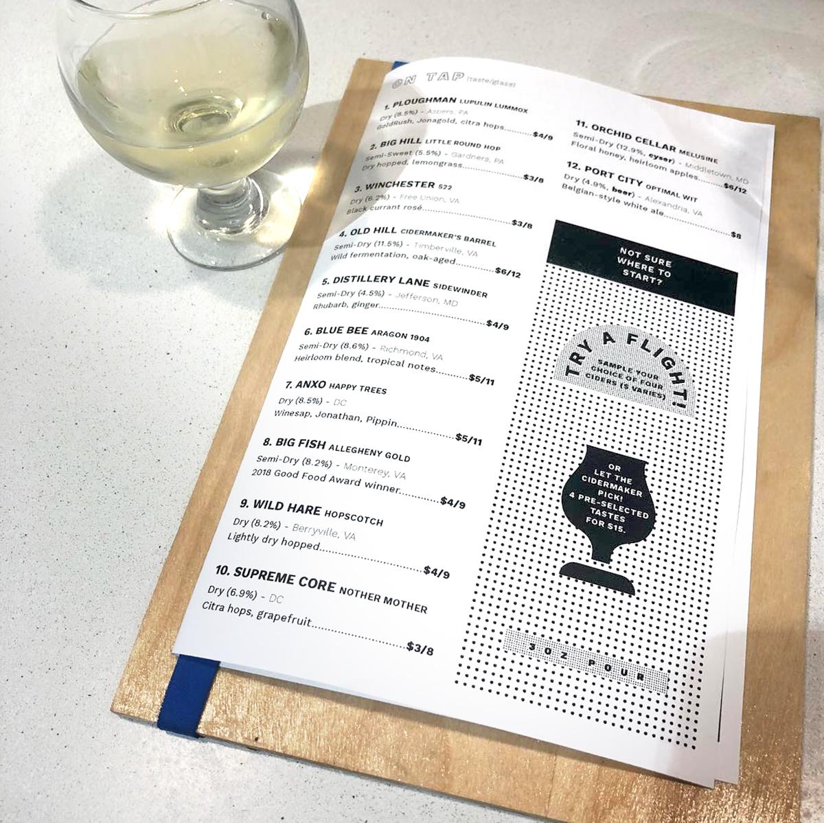 menu close up