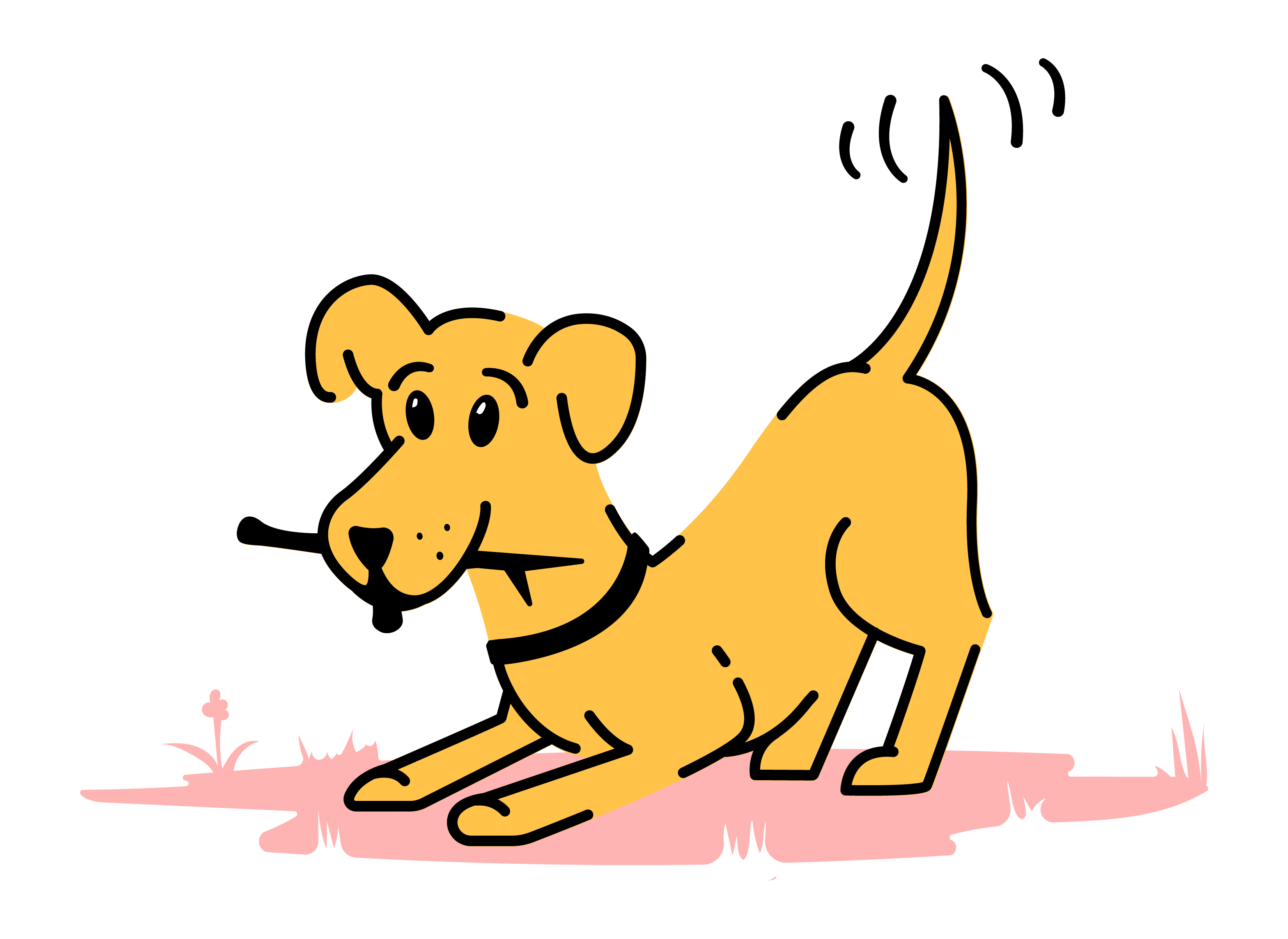 Dog wagging his tail with stick in mouth. illustration