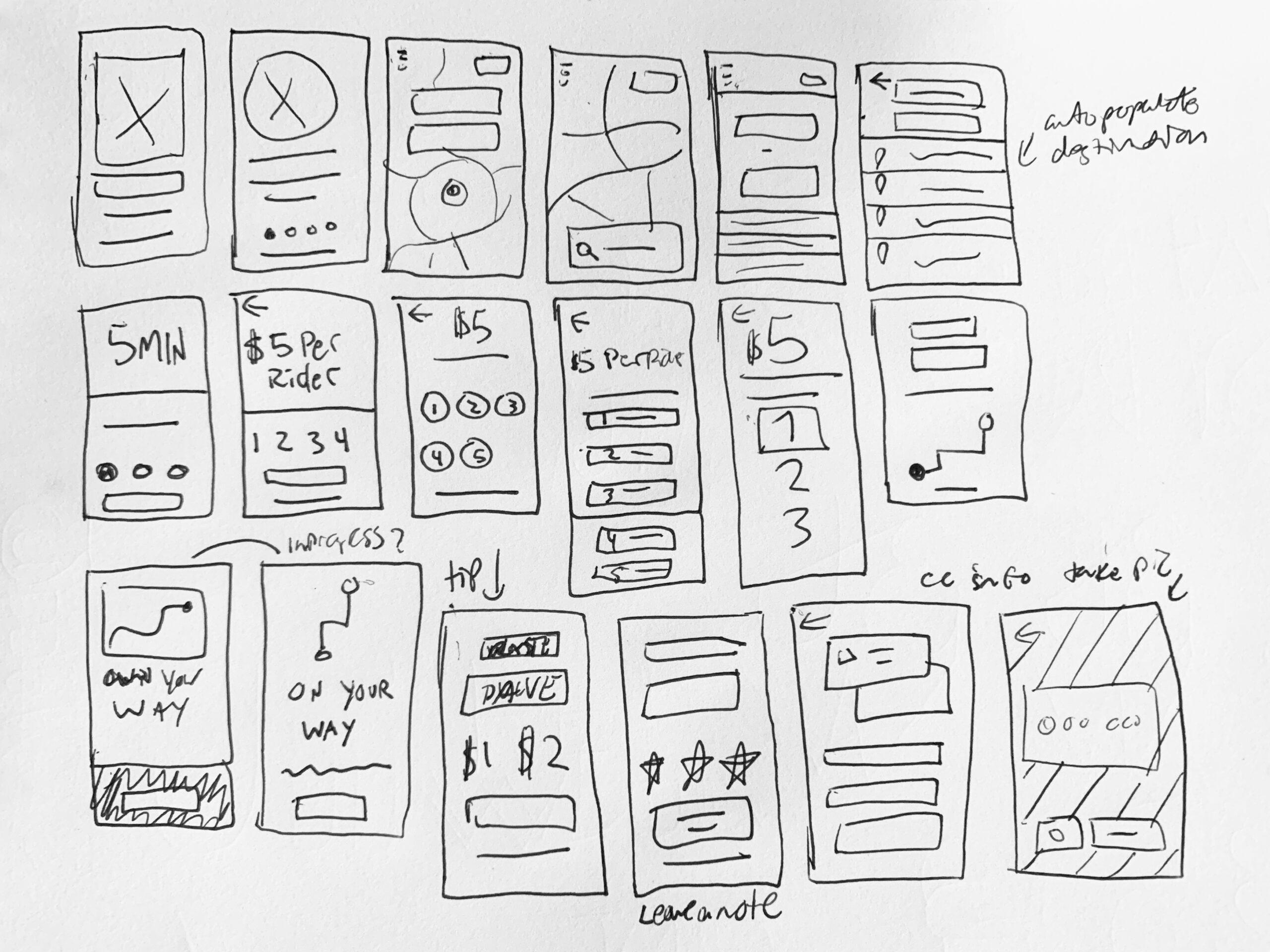 design sketches of the Gotcha Ride app