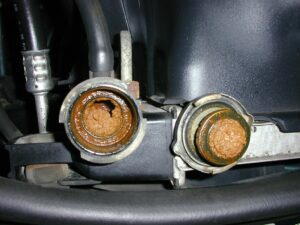 Radiator And Cap With Rust Contamination
