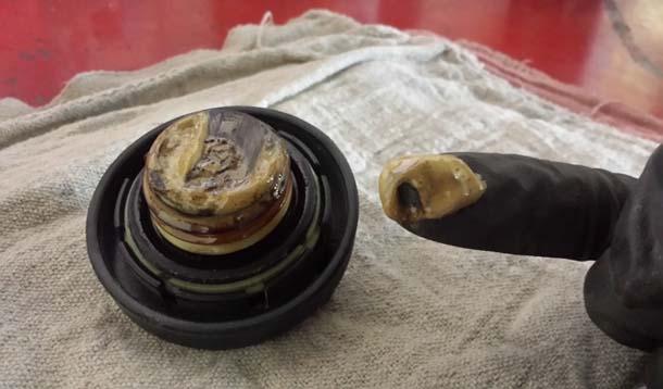 White Stuff Under Oil Filler Cap