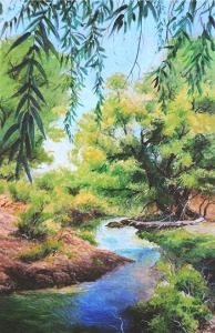Santa Cruz River, painting by Roy Purcell