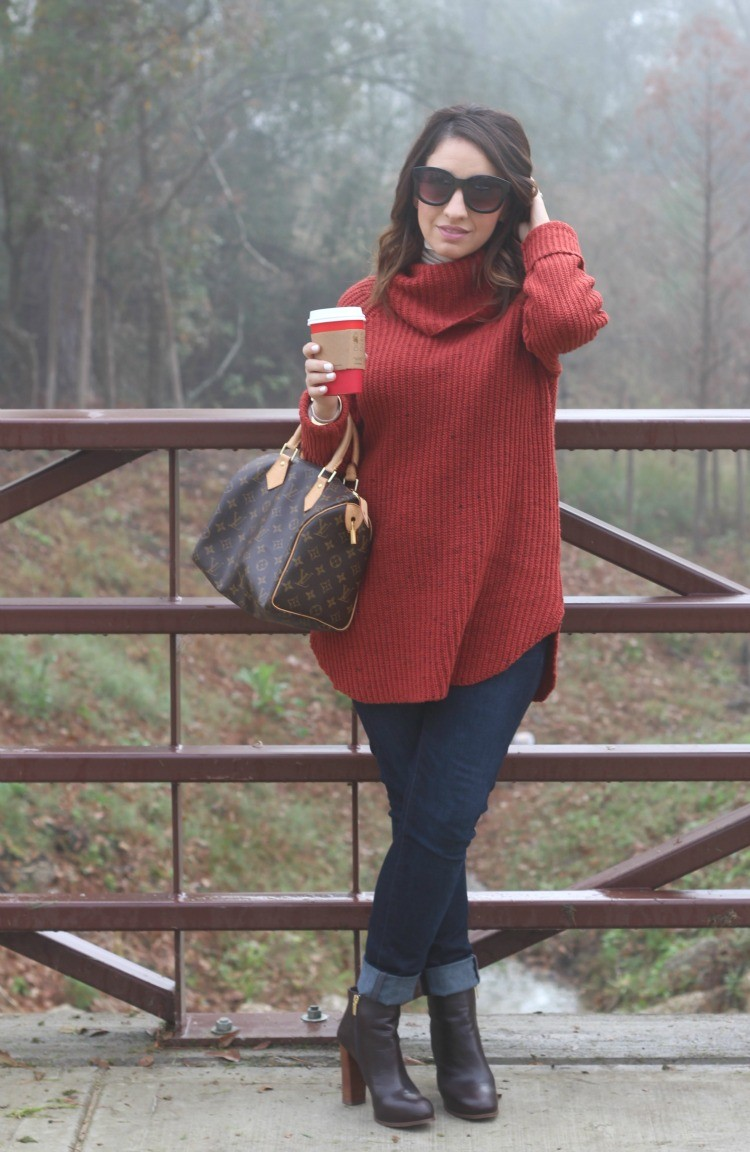 Cowl neck turtleneck, and skinny jeans