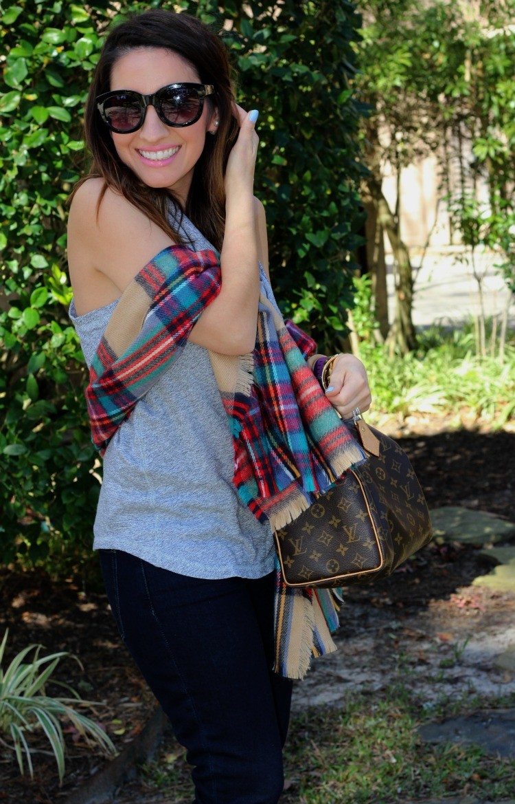 Cowl neck tank top and red and blue scarf