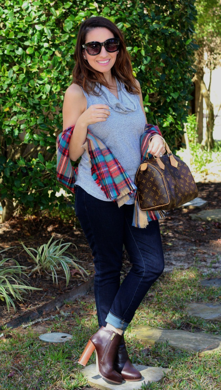 Cowl neck top, scarf, skinnies, and booties