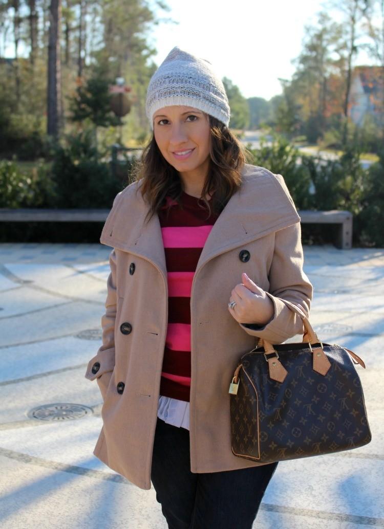 Cute beanie, Camel coat, and striped sweater