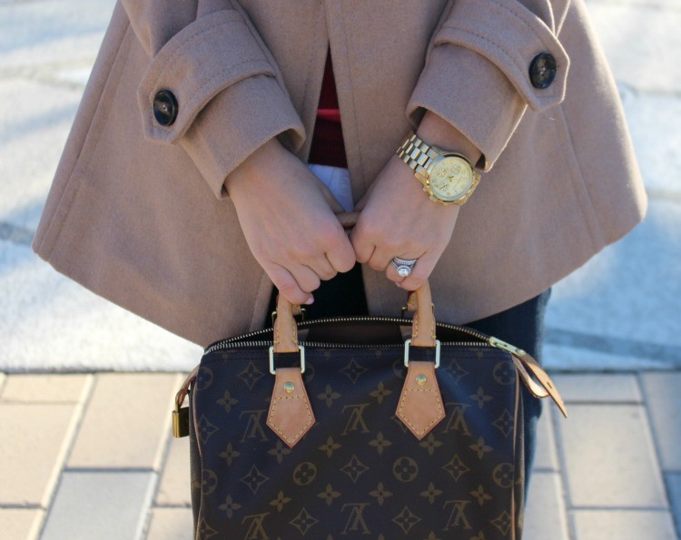 Gold watch with a cute bag