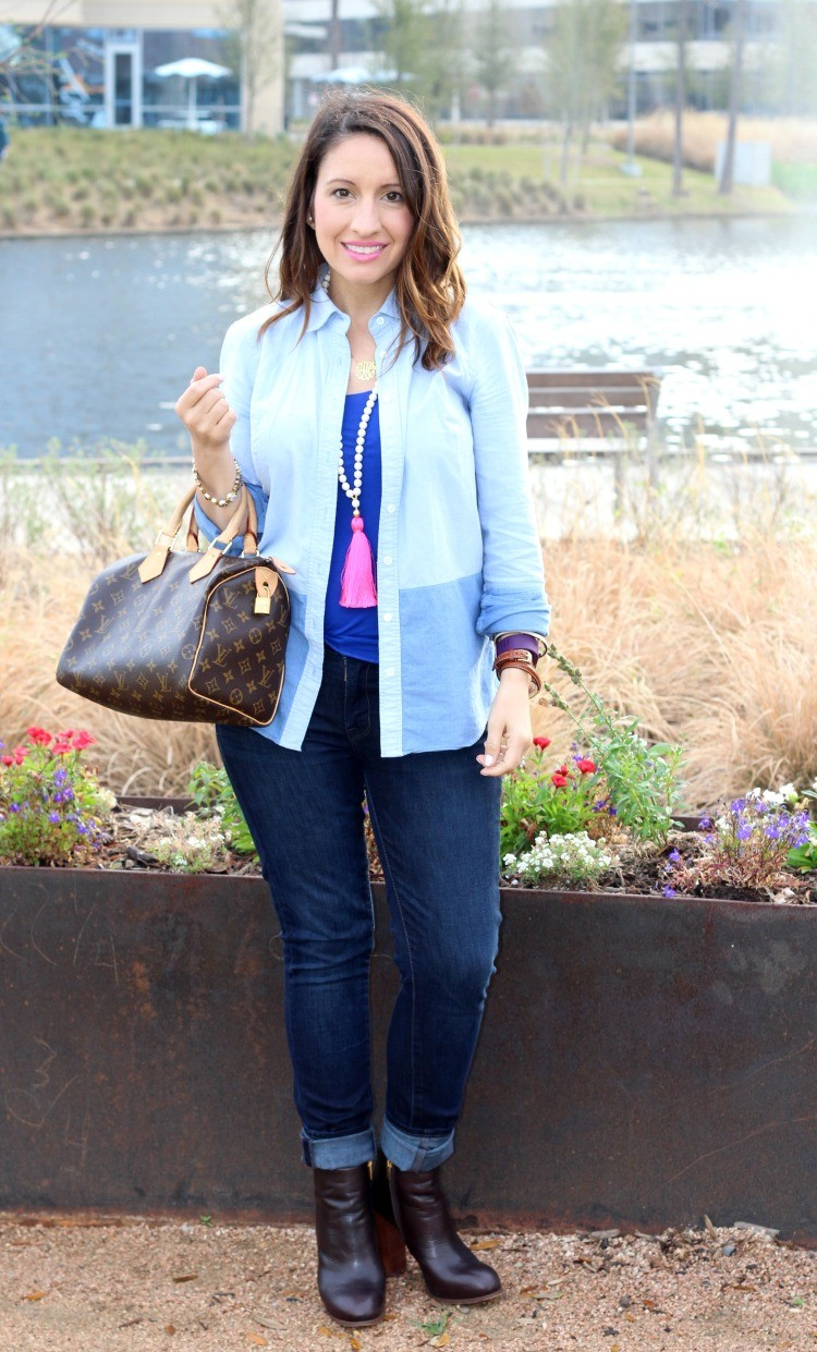 Layering with a button down and skinny jeans