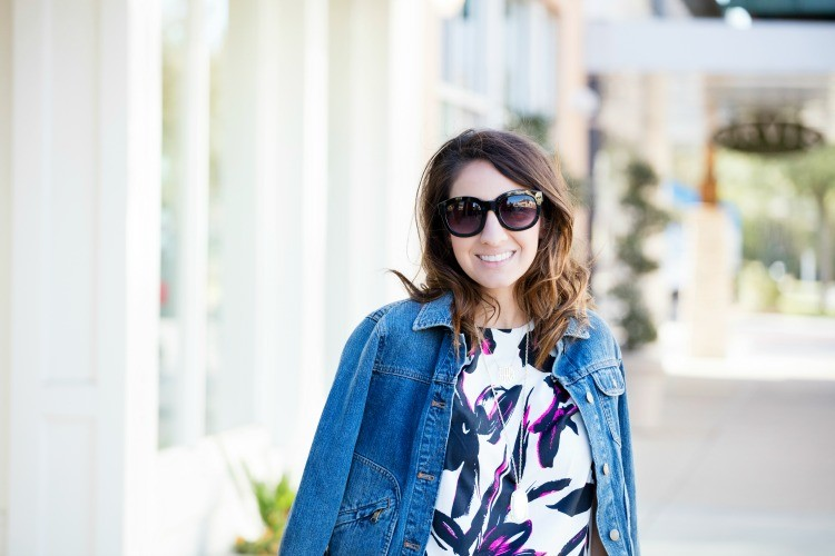 Denim jacket, and the cutest pink and white top
