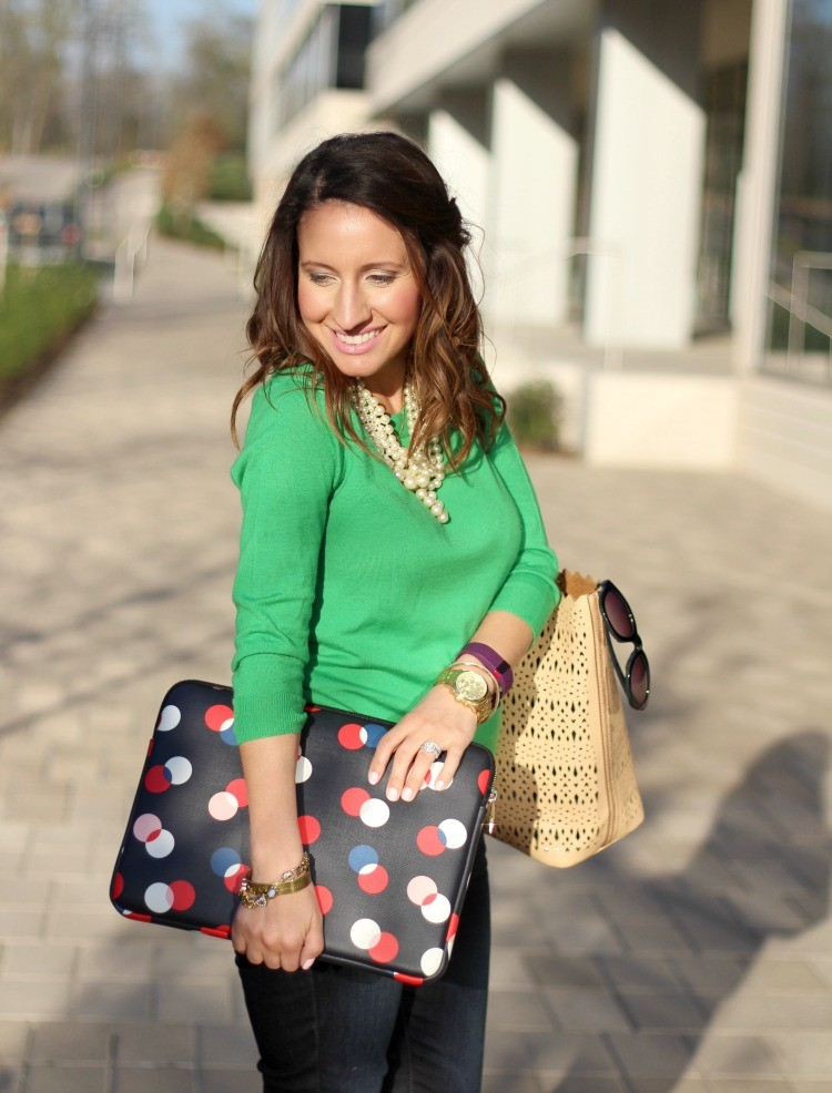 Green sweater, Nude handbag, and Kate Spade sleeve