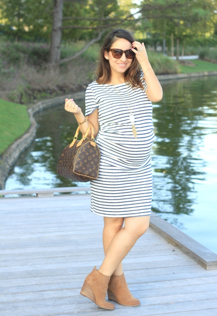 Ivory Navy Blue Striped Fitted Short Sleeve Maternity Dress