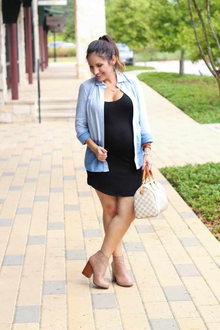 Laid back maternity style with non maternity dress