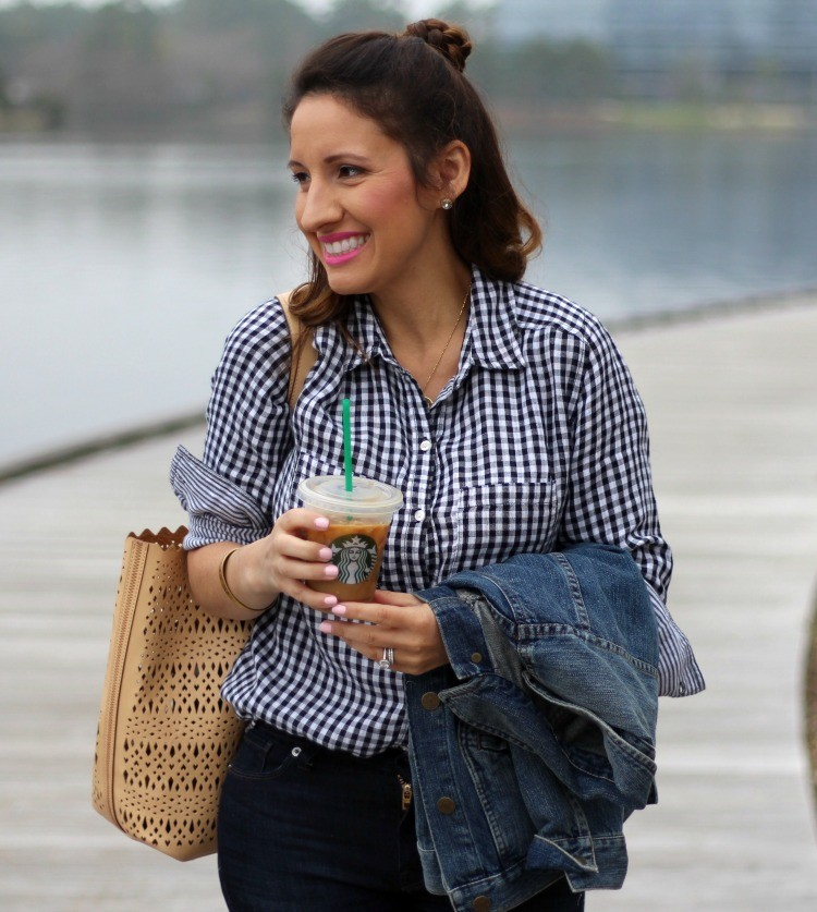 Labor Day Sales and the perfect Black and White gingham top, nude handbag, and denim jacket