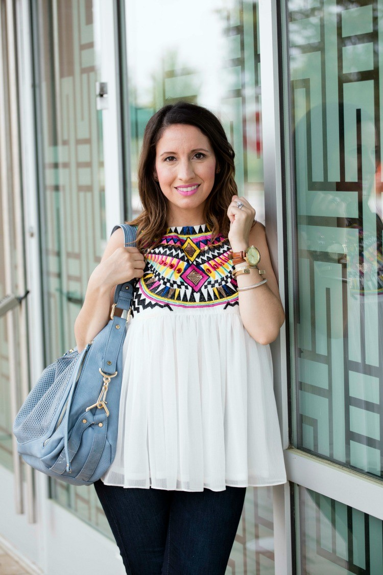 Romwe Review + White Sleeveless Geometric Tribal Print Chiffon Dress + Romwe Review