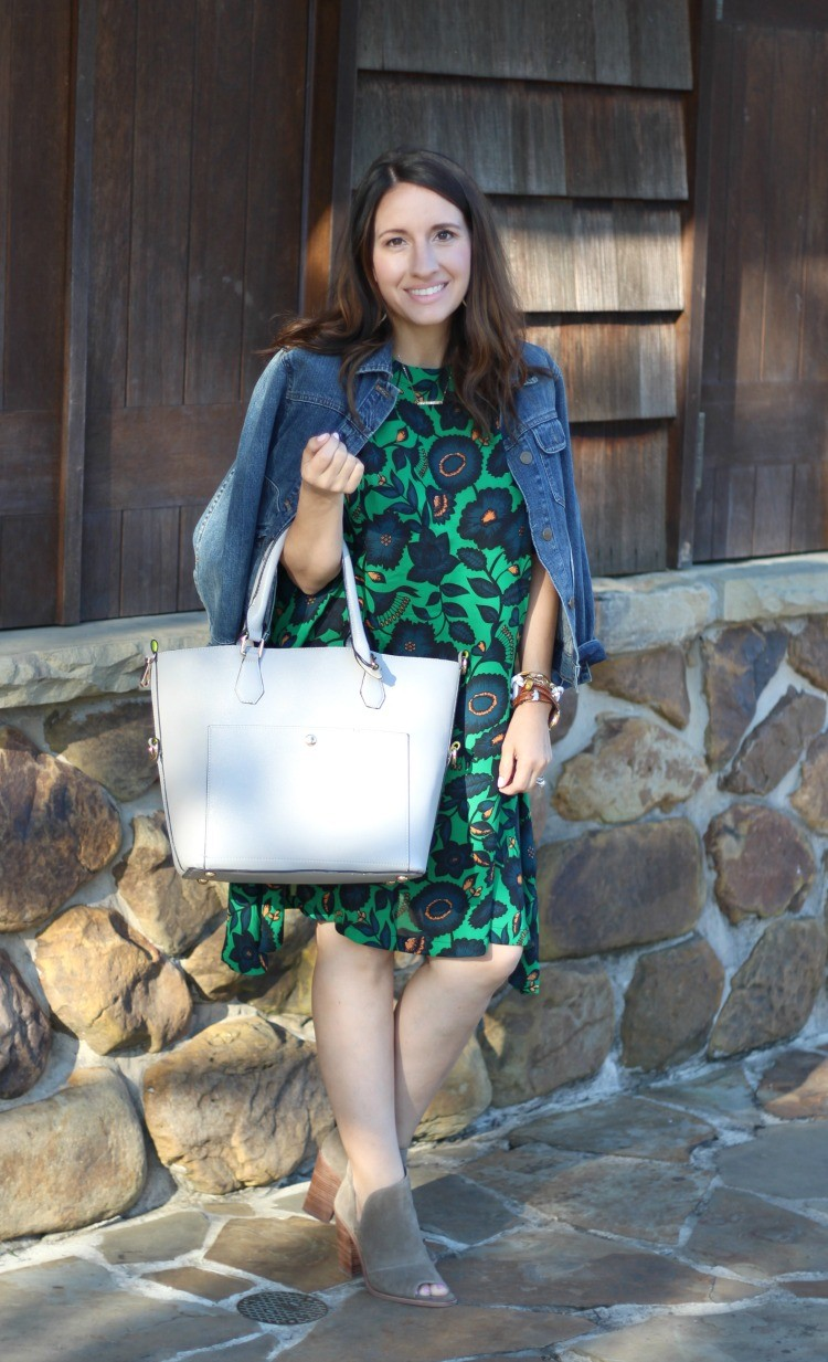 Dark Green Floral Shift Dress, Pretty In Her Pearls, Petite Blogger