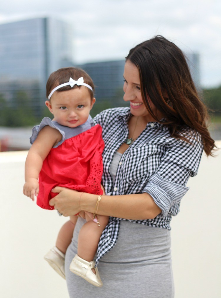 Mommy and Me time, Classic Summer Outfit, Gingham top, grey dress, and nude heels, Pretty In Her Pearls, Petite Style Blogger