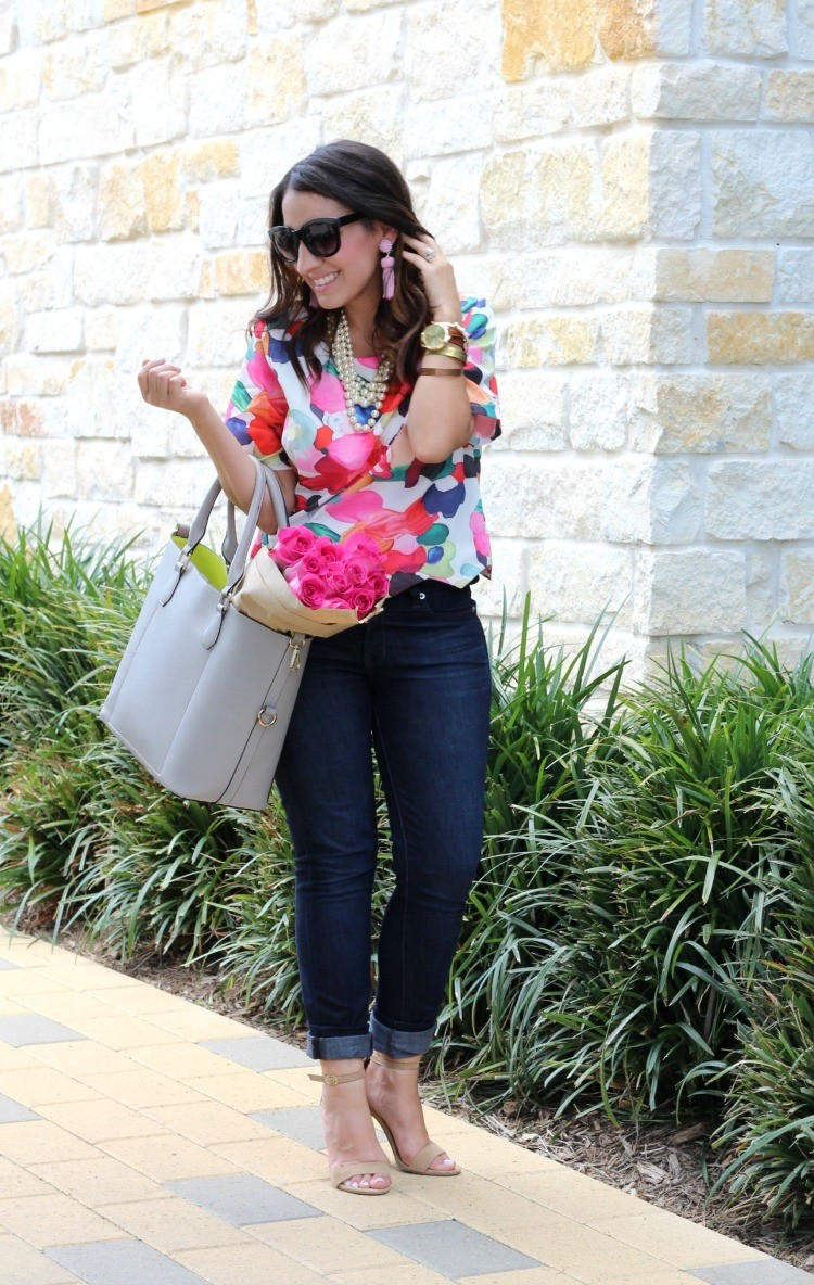 The perfect crop top, White round neck floral crop top, skinny jeans, and nude heels, Pretty In Her Pearls, Petite Style Blogger