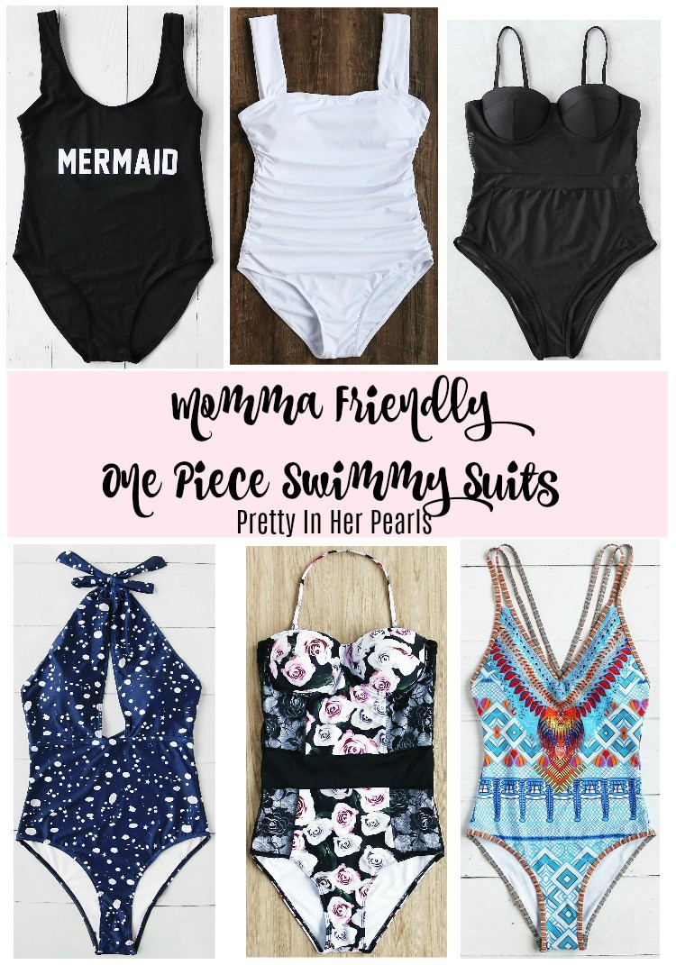 Momma Friendly One Piece Swimmy Suits, Pretty In Her Pearls, Cute One Piece Bathing suits