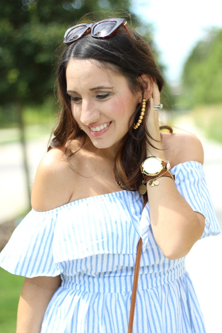 Lisi Lerch Gold hoop earrings, Preppy off the shoulder dress, Pretty In Her Pearls, Houston Blogger, Petite Style Blogger