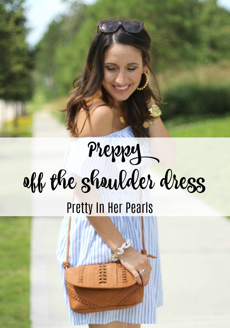 Preppy off the shoulder Romwe dress, Pretty In Her Pearls, Style Blogger, Petite Style Blogger