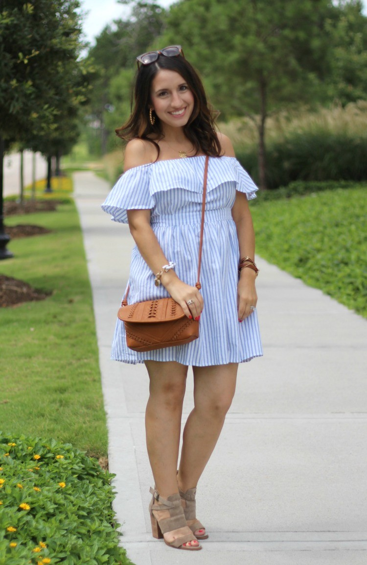 Preppy off the shoulder dress, Pretty In Her Pearls, Houston Blogger, Petite Style Blogger