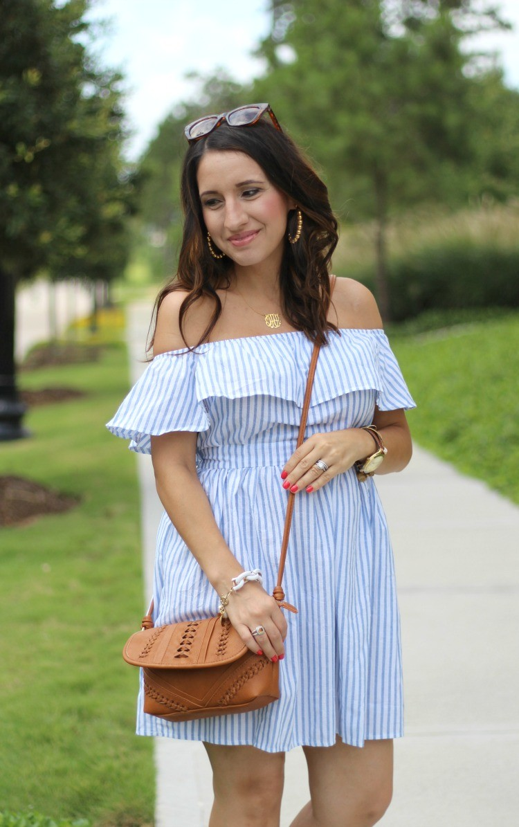 Romwe Flounce Layered Vertical Stripe Open Back Smock Dress, Pretty In Her Pearls, Style Blogger, Petite Style Blogger
