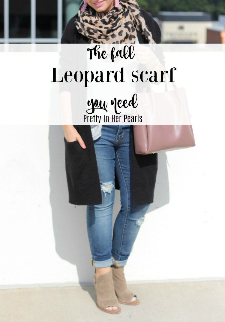 The fall leopard scarf you need, Leopard Scarf, Fall Outfit, Pretty In Her Pearls. Style Blogger, Petite Blogger, Starbucks Refresher Review