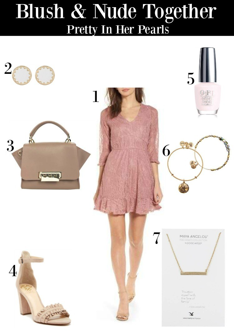 Blush and Nude Outfit, Pretty In Her Pearls, Spring Style, Nordstrom Rack
