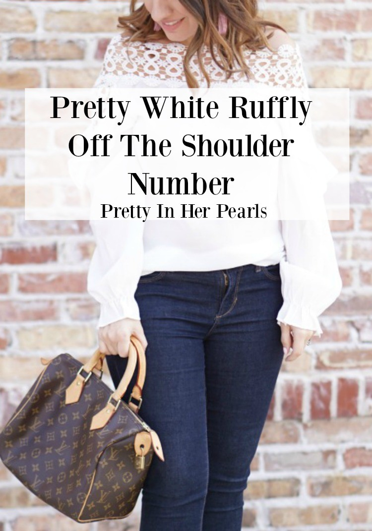 Pretty white off the shoulder number, spring style, Pretty In Her Pearls, White off the shoulder top, cute white top, cute top, Romwe