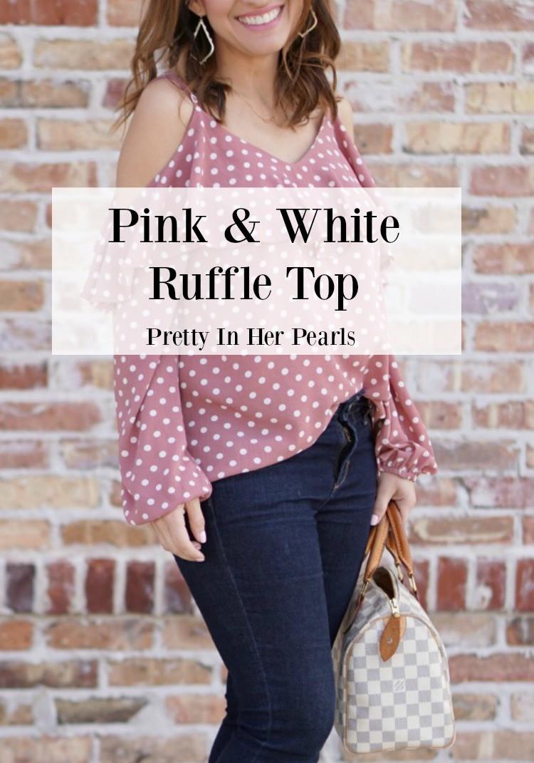 Pink & White Polka Dot Cold Shoulder Top, Spring Top, Petite Blogger Style, Petite Blogger, Lost & Wander top, Nordstrom,