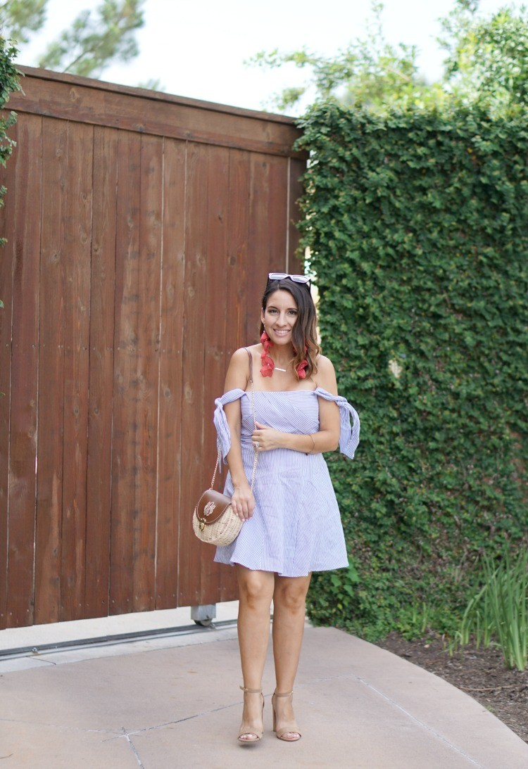 Bardot Blue and White Fit and Flare Dress