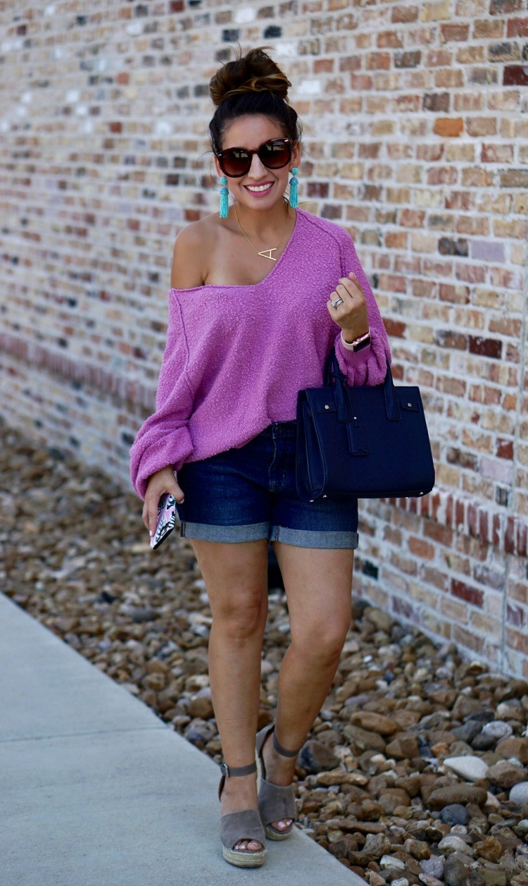 Slouchy drop shoulder sweater, shorts, and wedge sandals