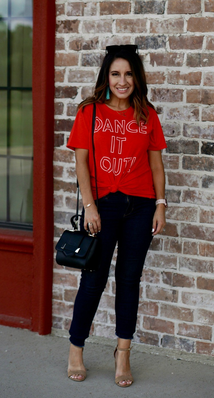 Dance it out tee and dark denim