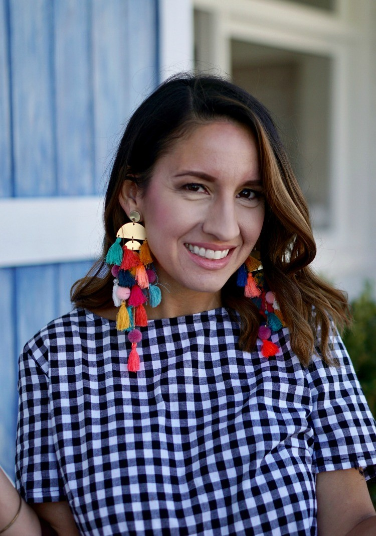 Gingham and Stella and Ruby earrings