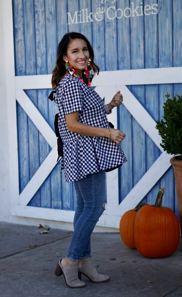 Gingham top, skinny jeans and nude booties