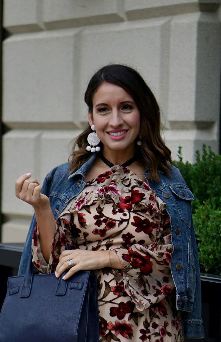 White BaubleBar earrings and off the shoulder mini dress