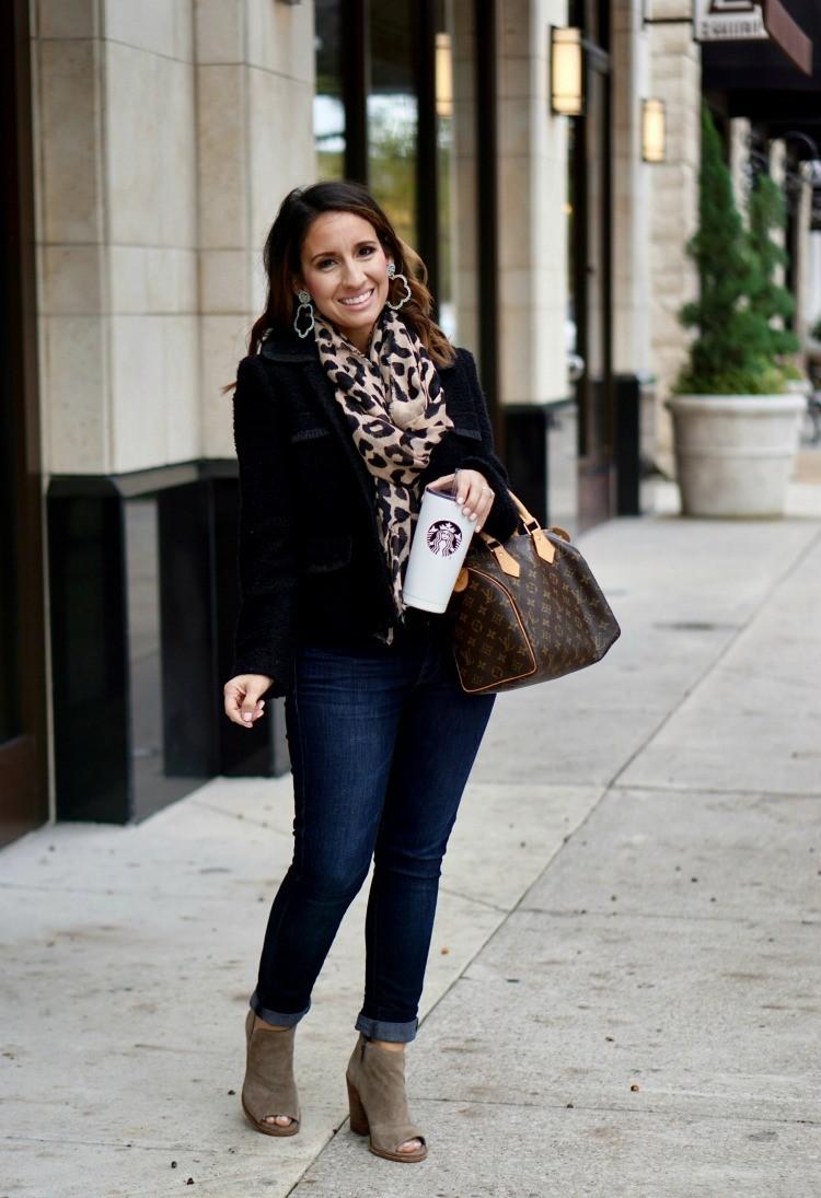 Leopard Print scarf, blazer, and dark skinny jeans