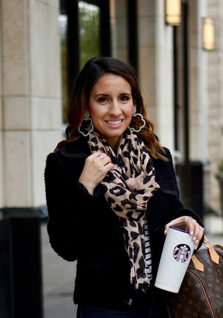 Statement earrings, leopard scarf, stripe tee and blazer