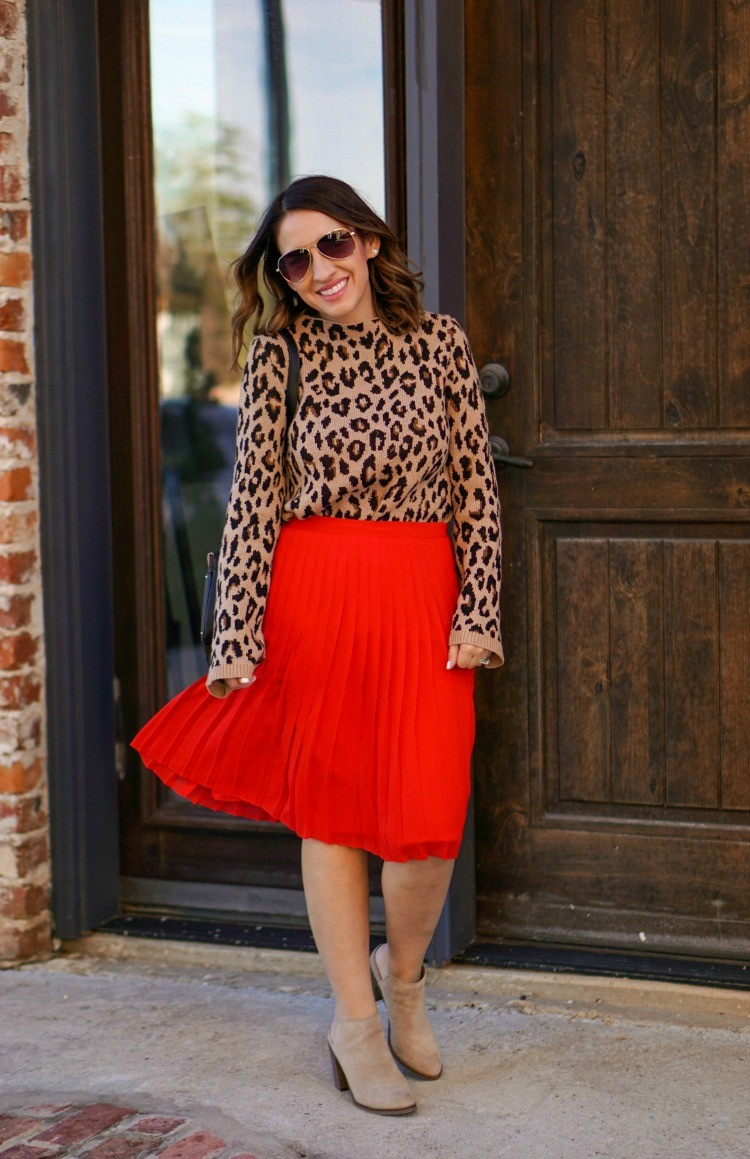 Ann Taylor Animal Print sweater and pleated skirt