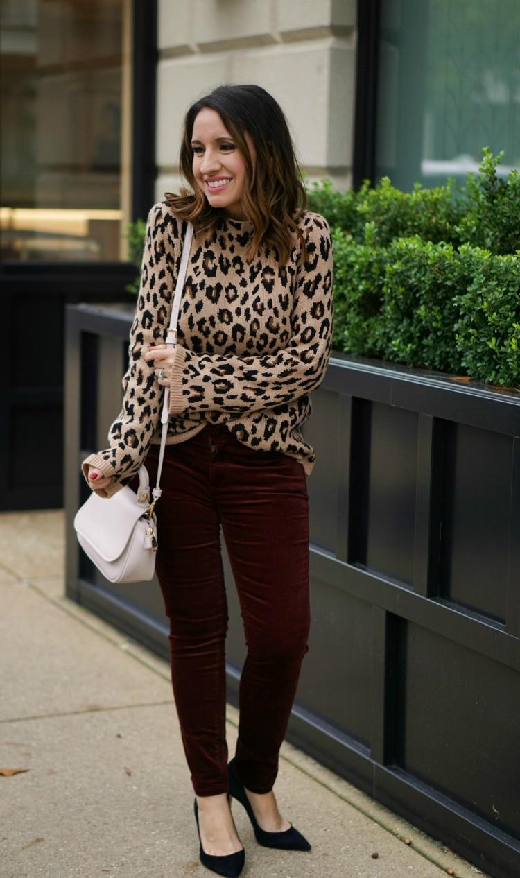 Ann Taylor Cashew Crunch Print sweater, velvet pants and black heels