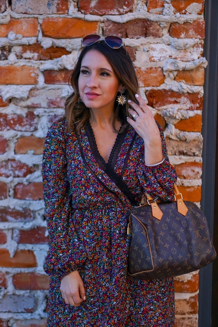 Floral faux wrap dress and statement earrings