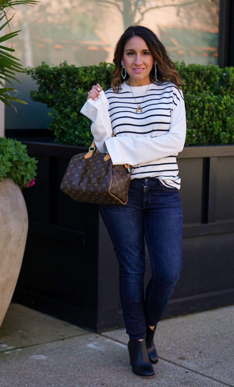 Black and White stripe sweater, dark skinny jeans, and black booties