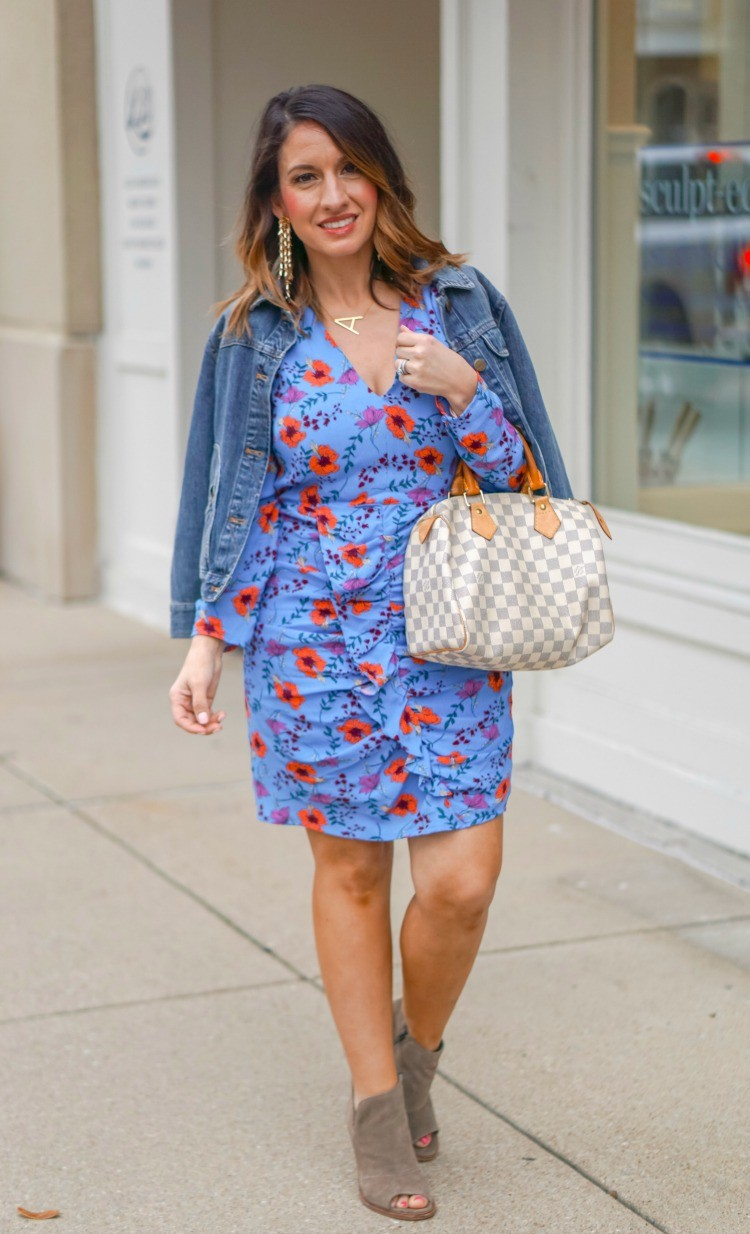 Floral Print Ruched Dress and nude booties