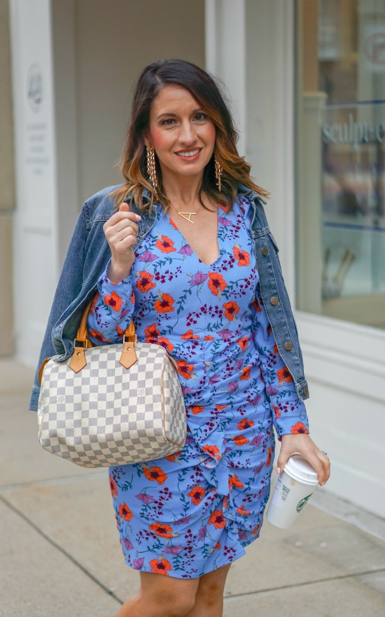 Floral Print Ruched Dress dressed down